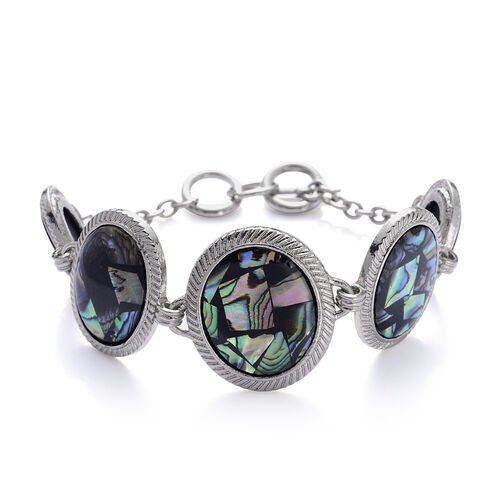 Abalone Shell Bracelet (Size 7.50) and Hook Earrings in Silver Tone