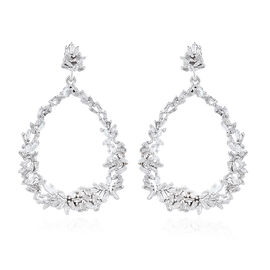 GP Diamond (Bgt), Kanchanaburi Blue Sapphire Drop Earrings (with Push Back) in Platinum Overlay Sterling Silver 1.040 Ct.