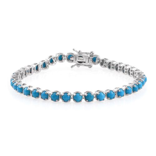 Arizona Sleeping Beauty Turquoise (Rnd) Bracelet (Size 7.5) in Platinum Overlay Sterling Silver 9.500 Ct.