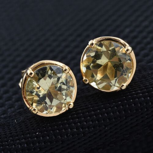 Canary Apatite (Rnd) Stud Earrings (with Push Back) in 14K Gold Overlay Sterling Silver 2.000 Ct.