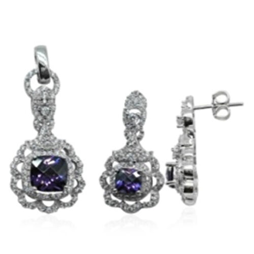 ELANZA AAA Simulated Amethyst (Cush), Simulated Diamond Pendant and Earrings (with Push Back) in Rhodium Plated Sterling Silver