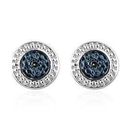 Blue Diamond (Rnd) Stud Earrings (with Push Back) in Blue and Platinum Overlay Sterling Silver 0.020 Ct.