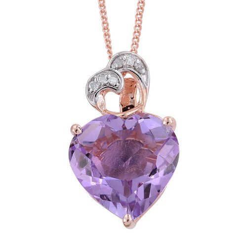 GP Rose De France Amethyst (Hrt), Diamond and Kanchanaburi Blue Sapphire Pendant With Chain in Rose Gold Overlay Sterling Silver 6.000 Ct.