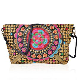 Shanghai Collection Multi Colour Floral Embroidered Clutch or Sling Bag with Removable Shoulder Strap (Size 34X32X7 Cm)