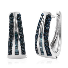 Blue Diamond (Bgt) Hoop Earrings (with Clasp) in Platinum Overlay Sterling Silver 0.500 Ct.