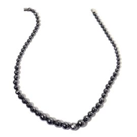 Faceted Hematite Graduated Necklace (Size 18) with Magnetic Clasp in Sterling Silver 329.000 Ct.