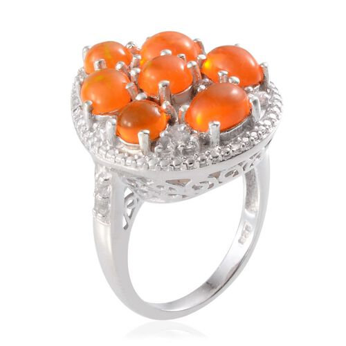 Orange Ethiopian Opal (Rnd 0.50 Ct), White Topaz Ring in Platinum Overlay Sterling Silver 3.000 Ct.