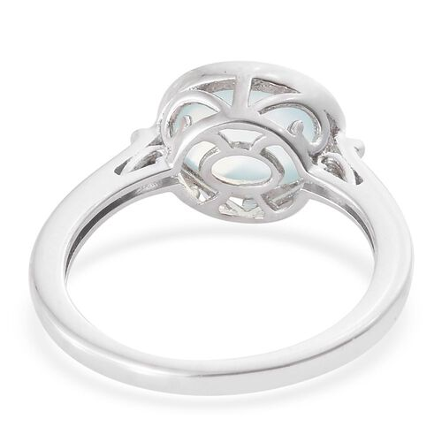 Aqua Chalcedony 2.75 Ct Silver Solitaire Ring in Platinum Overlay