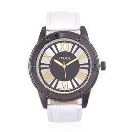 STRADA Japanese Movement Roman Numeral Dial Water Resistant Watch in Black Tone with Stainless Steel Back and White Colour Strap