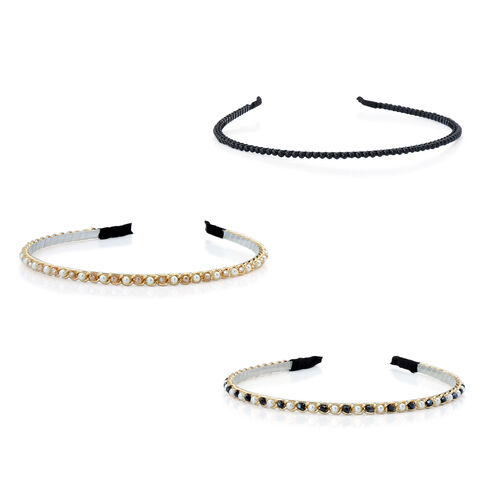 Set of 3 - Black and Champagne Glass Bead, Simulated White Pearl and Simulated Stone Head Band in Silver and Gold Tone