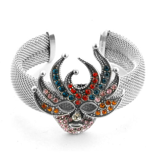 Venetian Mask Multi Colour Austrian Crystal Cuff Bangle in Stainless Steel