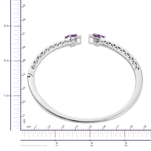 African Amethyst (Mrq), Natural Cambodian Zircon Bangle (Size 7.5) in ION Plated Platinum Bond 2.000 Ct.