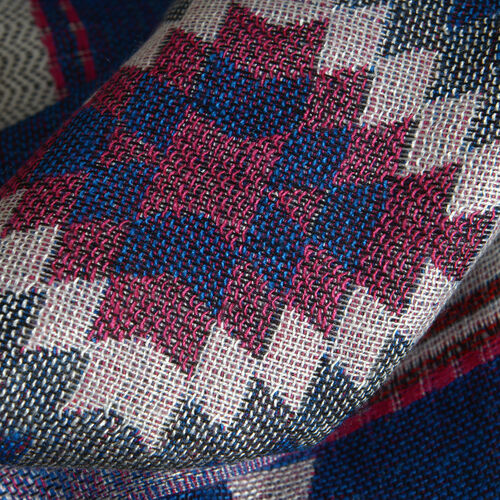 Dark Blue, Red and Multi Colour Geomatric Pattern Scarf with Fringes (Size 180x65 Cm)