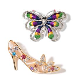 Set of 2 - Simulated White Cats Eye, Simulated White Diamond and Multi Colour Austrian Crystal Enameled Butterfly and High Heel Brooch or Pendant with Chain (Size 20) in Yellow Gold Tone