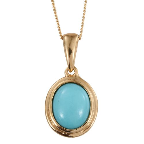 Sonoran Turquoise (Ovl) Solitaire Pendant With Chain in 14K Gold Overlay Sterling Silver 2.000 Ct.