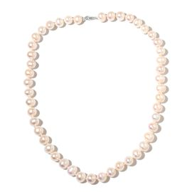 9K White Gold Fresh Water White Pearl Ball Necklace (Size 20)