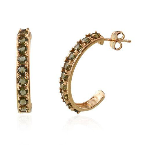 Bohemian Moldavite (Rnd) J Hoop Earrings (with Push Back) in 14K Gold Overlay Sterling Silver 1.750 Ct.