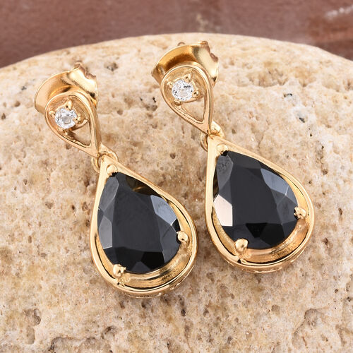 Boi Ploi Black Spinel (Pear), White Topaz Earrings (with Push Back) in 14K Gold Overlay Sterling Silver 5.250 Ct.