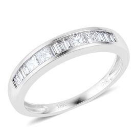 ILIANA 18K White Gold 0.50 Ct Diamond (SI/G-H) Princess Cut Half Eternity Band Ring