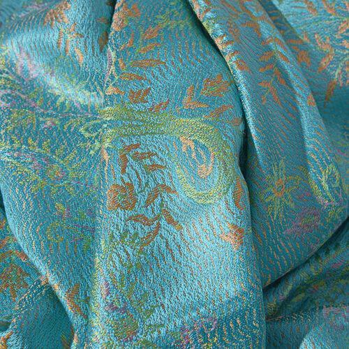 SILK MARK - 100% Superfine Silk Aqua Green, Orange and Multi Colour Flower Pattern Jacquard Jamawar Scarf with Tassels (Size 180x70 Cm) (Weight 125 - 140 Gms)