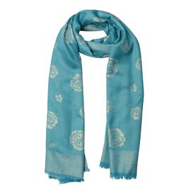 Sea Blue and Golden Colour Rose Pattern Scarf (Size 180x75 Cm)