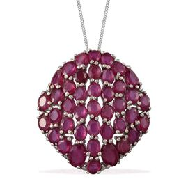 African Ruby (Ovl) Cluster Pendant With Chain in Platinum Overlay Sterling Silver 12.250 Ct.
