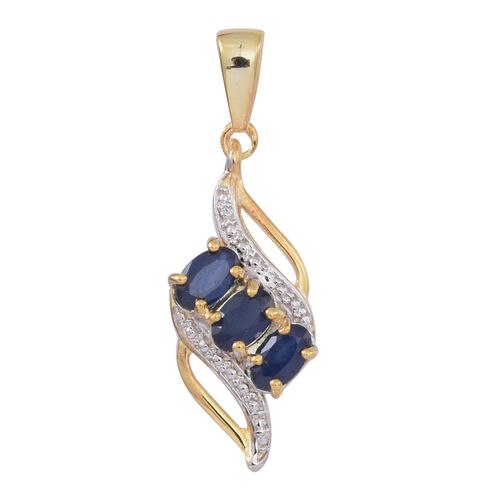 Kanchanaburi Blue Sapphire (Ovl) Trilogy Pendant in 14K Gold Overlay Sterling Silver 1.000 Ct.