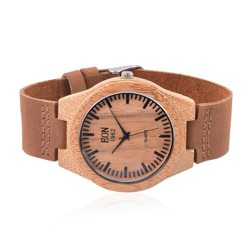 100% Natural Hand-Crafted - EON 1962 Japanese Movement Wood Dial with Tan Leather Strap Watch