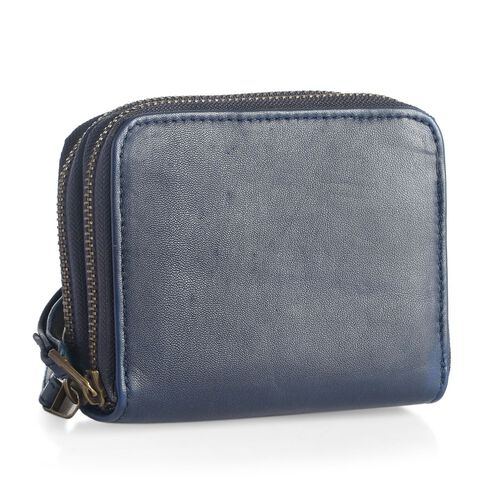 Genuine Leather RFID Blocker Blue Colour Ladies Wallet (Size 12x11x2 Cm)
