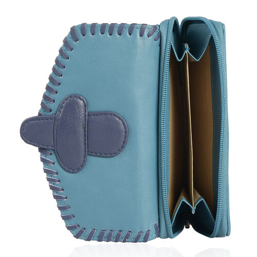 Genuine Leather RFID Blocker Blue and Sapphire Colour Wallet with Multiple Card Slots (Size 17X10 Cm)