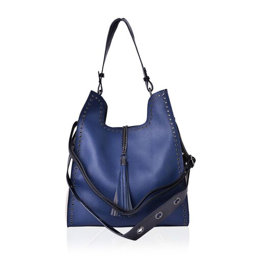 Set of 2 - Navy and Cream Colour Large Handbag (Size 33X30X14 Cm) with Tassel Charm and Small Handbag (Size 22X20X6 Cm) with Adjustable Shoulder Strap