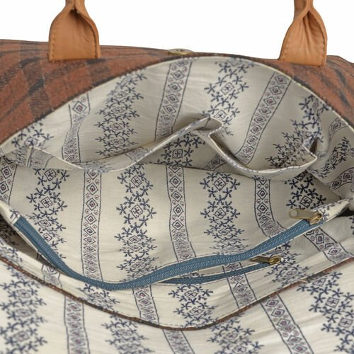 RFID Blocker Tan Genuine Leather and Black Tweed Check Pattern Handbag (Size 37X35X7X10 Cm)