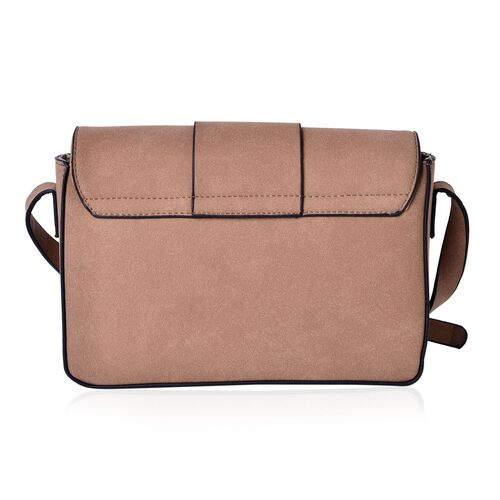 Italian Tan Crossbody Bag with Adjustable Shoulder Strap (Size 24x17.5x7 Cm)