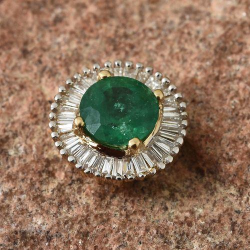 ILIANA 0.85 Ct AAA Kagem Zambian Emerald and Diamond (SI/G-H) Halo Pendant in 18K Gold