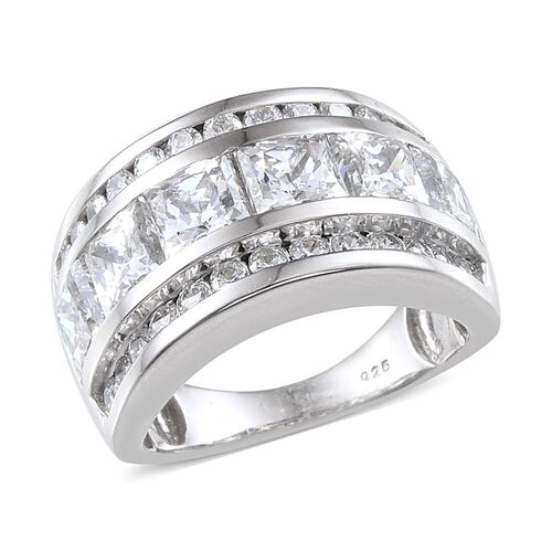 J Francis - Platinum Overlay Sterling Silver (Sqr) Half Eternity Band Ring Made with SWAROVSKI ZIRCONIA