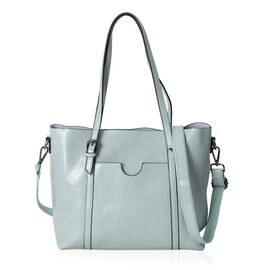 Designer Inspired- 100% Genuine Leather Light Green Colour Tote Bag with Removable and Adjustable Shoulder Strap (Size 31x27x12 Cm)