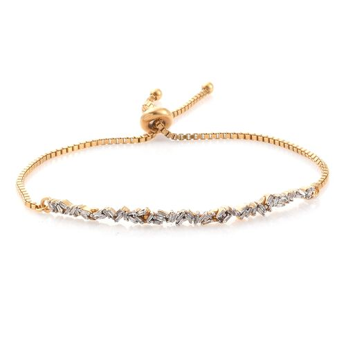 Diamond (Bgt) Bolo Bracelet (Size 6.5 to 8.5) in 14K Gold Overlay Sterling Silver 0.500 Ct., Silver wt 5.00 Gms.