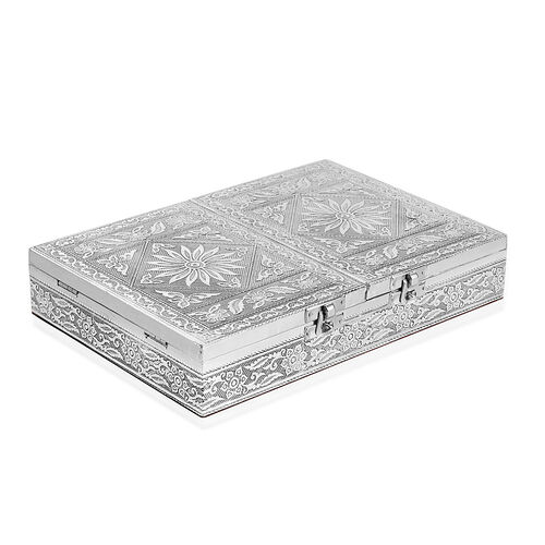 Handcrafted Floral Embossed Two Door Jewellery Box with Dark Red Velvet Inside (Size 24.5X17.5 Cm)