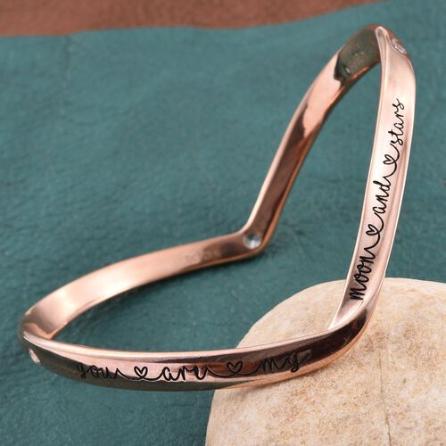 Kimberley A Wish From Me Collection Natural Cambodian Zircon (Rnd) Bangle (Size 7.5) in Rose Gold Overlay Sterling Silver, Silver wt 23.13 Gms.