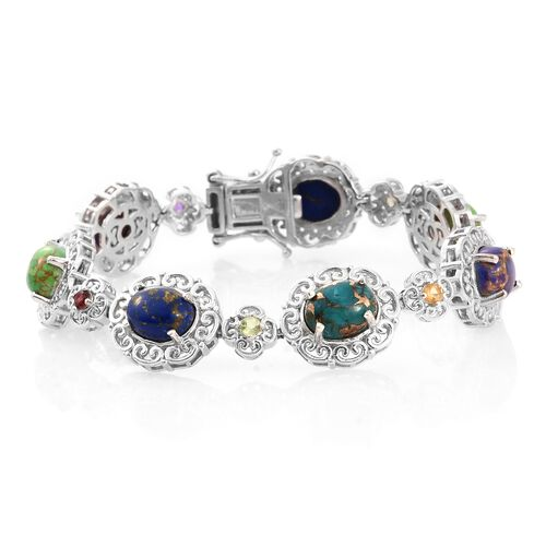 Close Out Deal-Mojave Blue, Purple, Green Turquoise (Ovl), and Multi Gem Stone Bracelet (Size 6.5) in Platinum Overlay Sterling Silver 14.000 Ct.Silver Wt 20.00 Gms