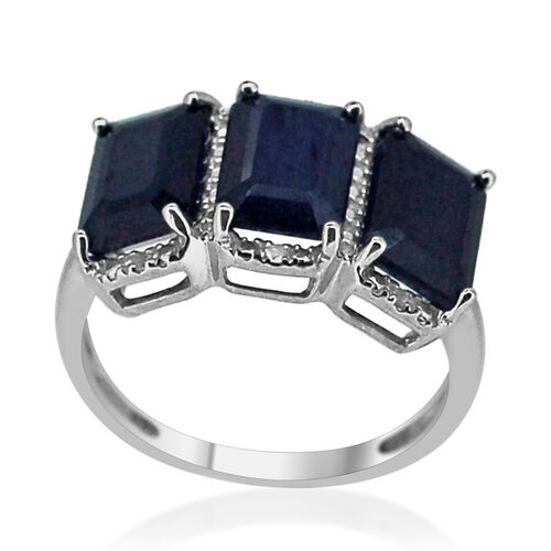 Diffused Blue Sapphire (Oct), White Sapphire Ring in Rhodium Plated Sterling Silver 6.035 Ct.