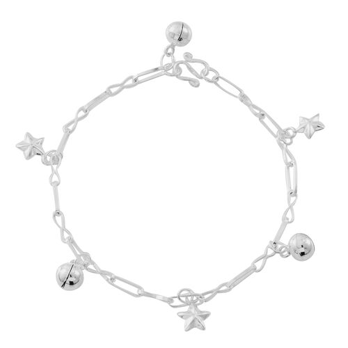 Sterling Silver Star and Ball Charm Bracelet (Size 7)