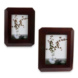 Set of 2 - Mahogany Effect Octagon Photo Frame (Size 4x6 and 5x7 inch)