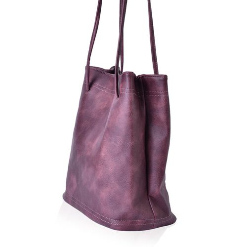 Designer Inspired Estella Dark Purple Colour Large Size Tote Bag (Size 30x28x15 Cm)