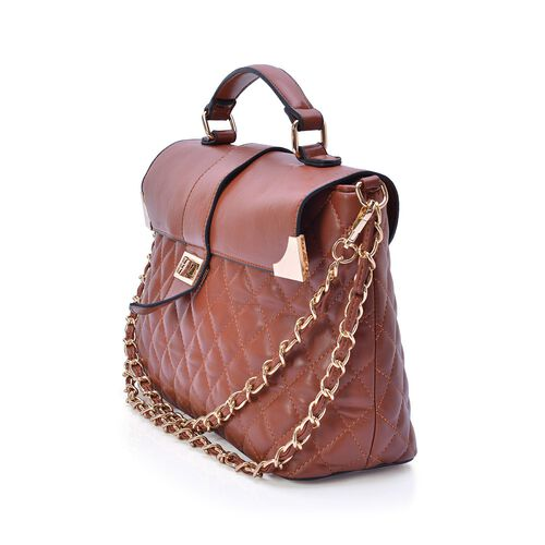 Tan Colour Diamond Pattern Tote Bag (Size 32x22x11 Cm)