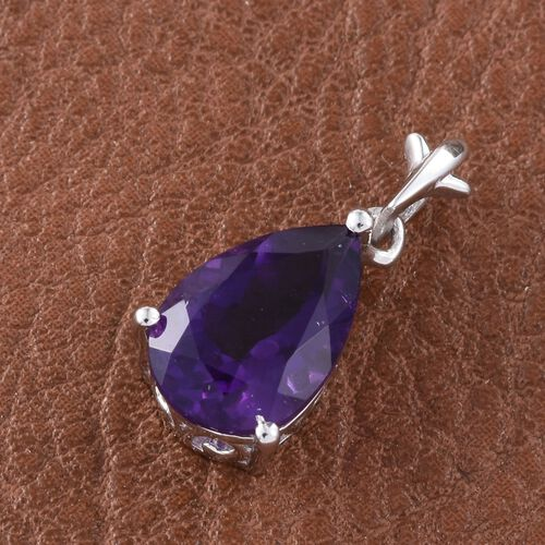 Lusaka Amethyst (Pear) Solitaire Pendant in Platinum Overlay Sterling Silver 2.750 Ct.