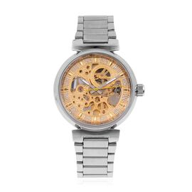 GENOA Automatic Machanical Movement Golden Dial Water Resistant Watch in Silver Tone with Stainless Steel Back