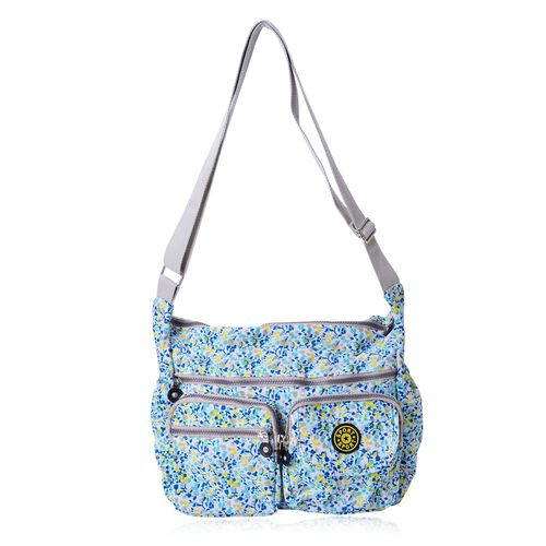 Blue and Multi Colour Floral Pattern Waterproof Sports Bag with External Zipper Pocket and Adjustable Shoulder Strap (Size 27X32X11.5 Cm)