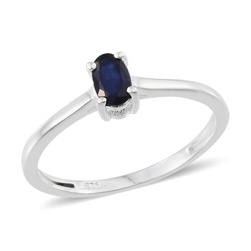 Diffused Blue Sapphire (Ovl 0.50 Ct), Diamond Ring in Sterling Silver 0.520 Ct.