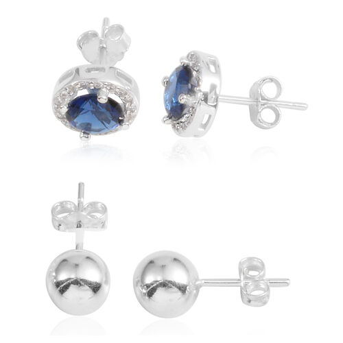 JCK Vegas Collection Set of 2 - AAA Simulated Sapphire (Rnd), Simulated Diamond Stud Earrings (with Push Back) in Sterling Silver